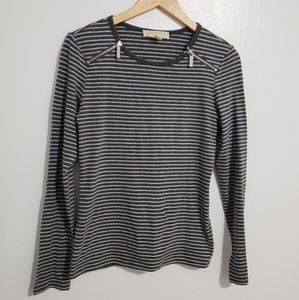 {Michael Kors} Striped Shoulder Zip Top